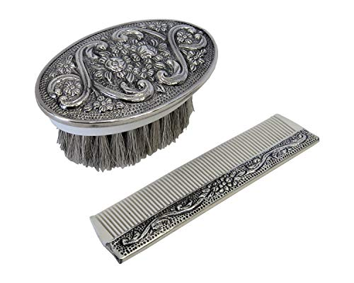 925 Sterling Silver Boy's Comb & Brush Set with Blue Felt Gift Box ()