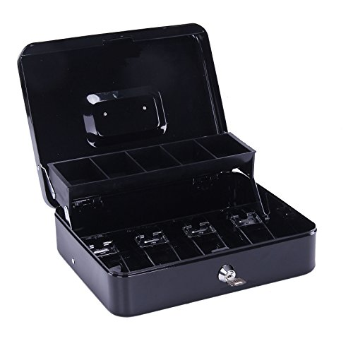 Greek Art Cash Box With Key Lock Strong and Sturdy Safe Box Cash Drawer With Tray for Your Money, Petty Cash, Medication, Documents, Coins, Keys, Earrings, Little Necklace (Black)