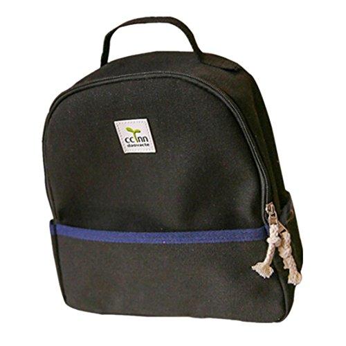 Clode® Mochila de hombro chicas chicos lienzo escuela Bolsa viaje mochila mochila mujer Negro