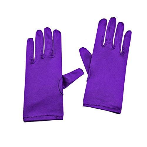 Greenmoe Women's Elegant Short Finger Formal Party Wrist Length Gloves Purple -