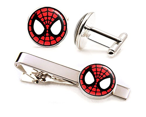 Spiderman Cufflinks, Spider-Man Tie Clip Tack, Avengers Jewelry, Superhero Wedding Party Gift, Groomsmen Geek Gift (Spider Man Jewelry)