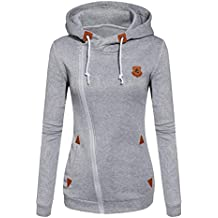 Smile fish Women Casual Slim Fit Zip-up Hoodie Jacket With Leather (Gray,M)