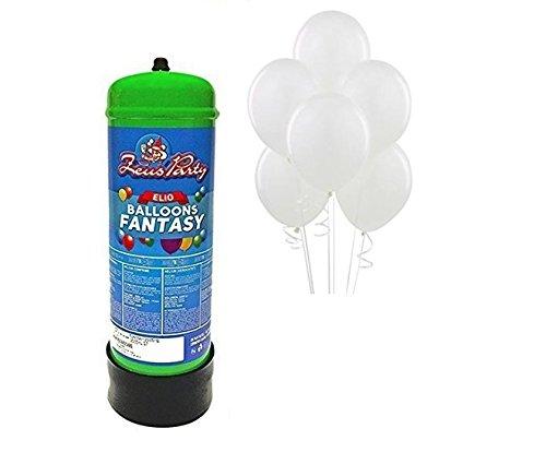 Bombola di elio da 2,2 litri + 30 palloncini bianchi matrimonio compleanni comunioni feste eurotre