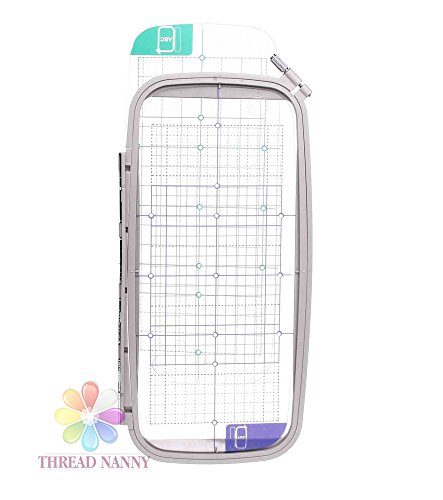 ThreadNanny SA445 12-inch x 5-inch JUMBO Embroidery Hoop w/ Placement Grids for Brother PE-700, PE700II, PE-750D, PE-770, PE-780D, (Embroidery Hoops Brother Pe780d)