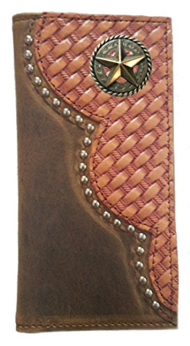 USA Leather Star MADE Weave Garland Wallet Checkbook Long Fancy Proudly Basket Custom THE Buckskin Color IN qg8aZa