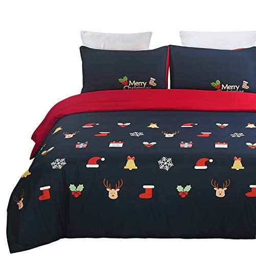 Vaulia Microfiber Duvet Cover Set, Print Pattern Design for New Year Decorations, Blue/Red - Queen (Quilt Sets Holiday)