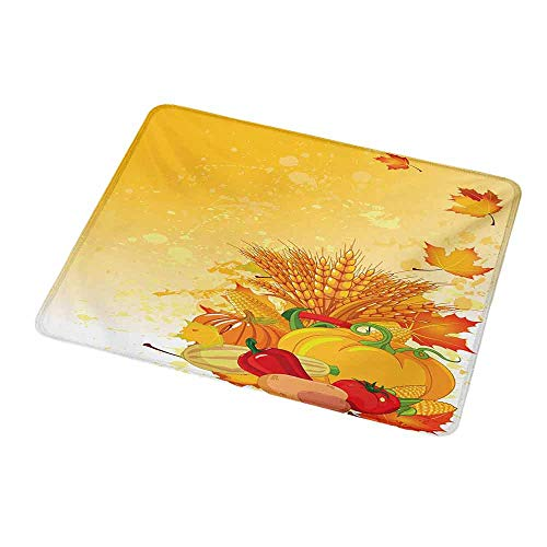 - Mouse Pad Oblong Shaped Mouse Mat Harvest,Vivid Festive Collection of Vegetables Plump Pumpkins Wheat Fall Leaves,Earth Yellow Green Red,Non-Slip Thick Rubber Mousepad Mat 9.8