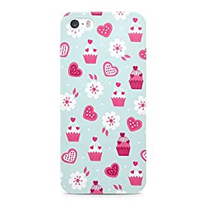 Loud Universe Valentines Day Couples Love Cupcake Heart Floral Pattern Durable Wrap Around iPhone SE Case - Blue