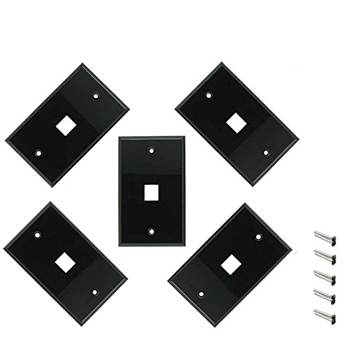 iMBAPrice 1 Port Keystone Jack Wall Plate 1-Gang - Black (Pack of 5) Keystone Style Port Wall Plate