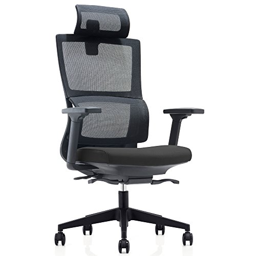 CMO High Back Mesh Ergonomic Office Chair with 2-to-1 Synchro-Tilt Control & Headrest, Big and Tall 360 Degree Swivel Executive Computer Task Chair for Home Office Conference Room