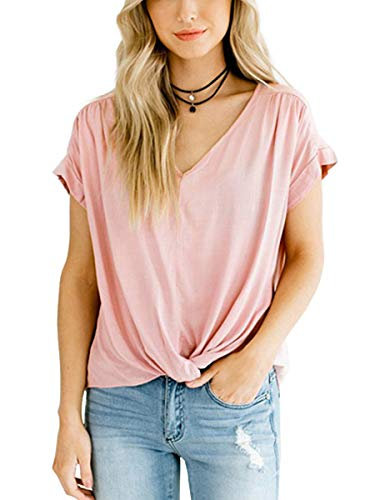 SAMPEEL Cute Tee Shirts V Neck Juniors Cute Casual Tunic Tops Loose Fit Light Pink XL