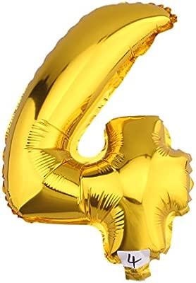 V-SOL Globos De Números Para Fiestas De Cumpleaños Boda Velada Navidad 32 Pulgada Número 4-Dorado