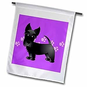Janna Salak Designs Dogs - Cute Black Scottie - Cartoon Dog - Purple with Pawprints - 18 x 27 inch Garden Flag (fl_40869_2)