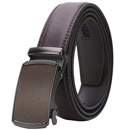 Lavemi Men's Real Leather Ratchet Dress Belt with Automatic Buckle,Elegant Gift Box(55-44525 Brown - Ship Fit Will Custom