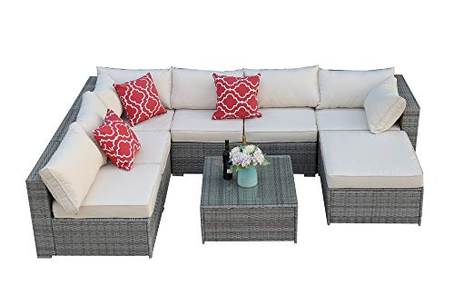 Do4U 3-12 Pieces Set Outdoor Patio Furniture Sectional Conversation Set,All-Weather Wicker Rattan Sofa Beige Seat & Back Cushions (3015-Grey-8 Pieces)