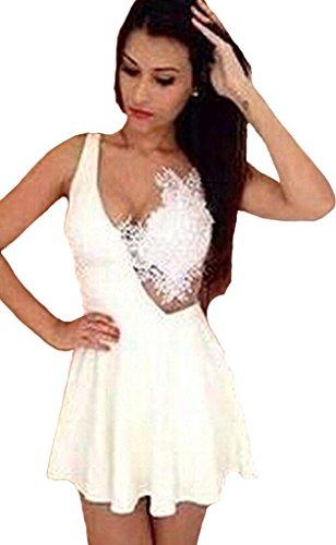 Mini Del Cordón Ganchillo Mine Blanco Vestido Vestir Cocktail tom Mujer De Correa Dama Verano vvtzZ6q