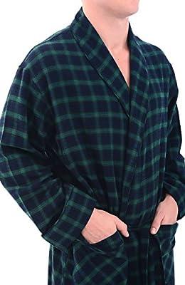 Del Rossa Men's Flannel Robe, Soft Cotton Bathrobe