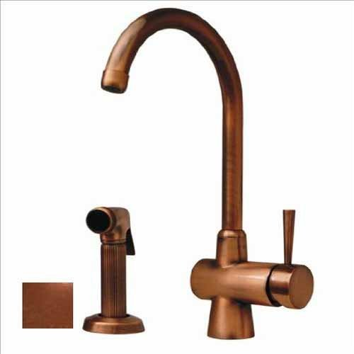 Whitehaus WH16666-PCO Evolution 7 1/4-Inch Arcade Single Lever Mixer with Gooseneck Swivel Spout and A Fluted Solid Brass Side Spray, Polished Copper by Whitehaus