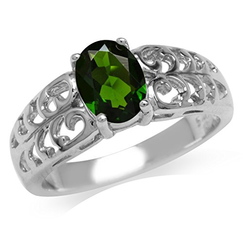 1.31ct. Green Chrome Diopside White Gold Plated 925 Sterling Silver Filigree Solitaire Ring Size 9 (Diopside Green Ring)