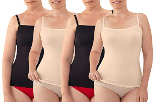 Fruit of the Loom Fit for Me Seamless Cami 4-Pack (2Nude/2Black, 2X)