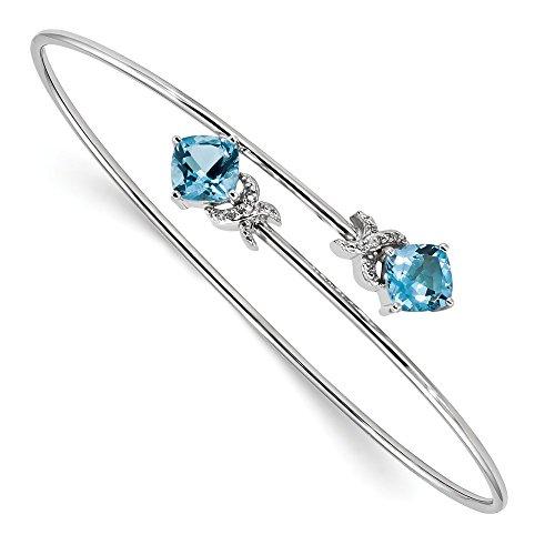 Jewelry Adviser Bangle Bracelets 14k White Gold 0.03ct Dia. & 2.6ct. Blue Topaz Flexible Bangle