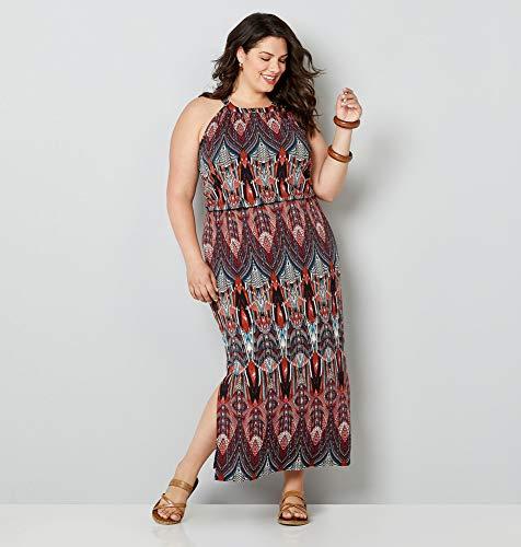 (Avenue Women's Art Deco Inspired Print Maxi Dress, 14/16 Fuchsia)