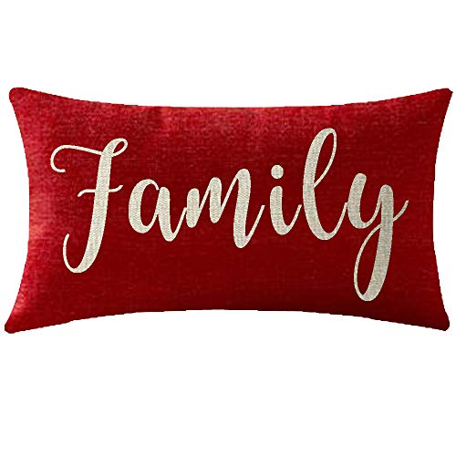 NIDITW Nice Gift Inspirational Family Words Waist Lumbar Red Cotton Linen Throw Pillow case Cushion Cover for Sofa Home Decorative Oblong 12x20 Inches (Throw Nice Pillows)