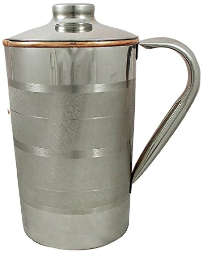 Pure Copper Jug Drinkware Accessory for Ayurvedic Healing - Pure Silver Dinnerware