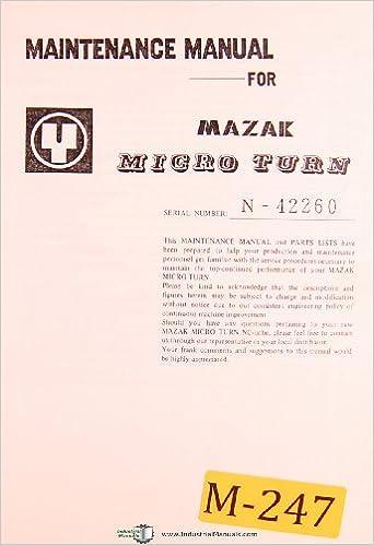 Mazak Micro Turn, NC Lathe, Maintenance and Parts Manual: Mazak