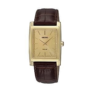 Seiko Men's Brown Leather Strap Solar Dress Watch