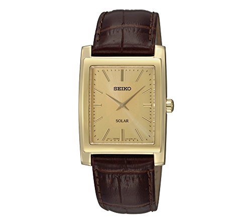 Seiko Men's Brown Leather Strap Solar Dress Watch