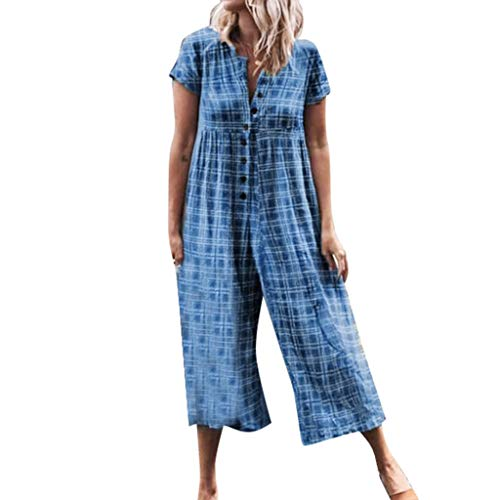 Women's Casual Loose Solid Plaid Short Sleeve Button Down Jumpsuits Beach Loose Long Romper Wide Leg Playsuit