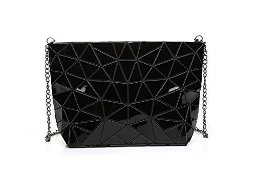 Flada Hologram Geometric Split Joint Plaid Chain Shoulder Bags For Women Hologram Silver Black
