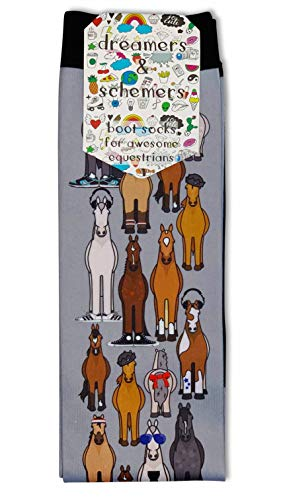 DREAMERS & SCHEMERS - HORSE THEMED Boot Socks - Comfortable, Fun, Equestrian Horse Riding Socks for Women (Horse Fam)