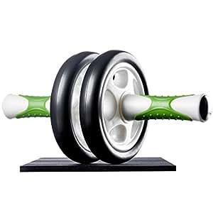 Ultrasport Aparato de abdominales AB Roller, práctico aparato de fitness y abdominales, para entrenar abdominales, musculatura y espalda, rodillo de abdominales con esterilla para las rodillas y manual de ejercicios, Verde
