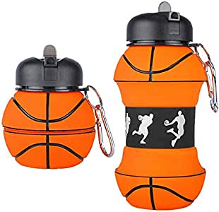 BALL HOG - Sports Water Bottle Basketball - BPA Free - Reusable Leak and Shock Proof - Squeezable Collapsible Foldable Water Bottle