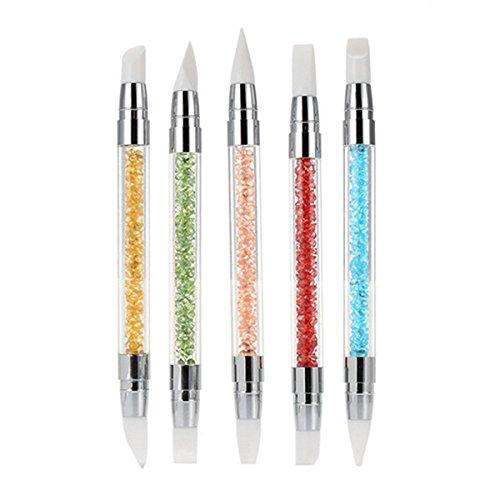 Frcolor Cepillos de uñas de silicona Gel talla pluma lápiz conjunto de herramientas con mango de acrílico del Rhinestone, paquete de 5