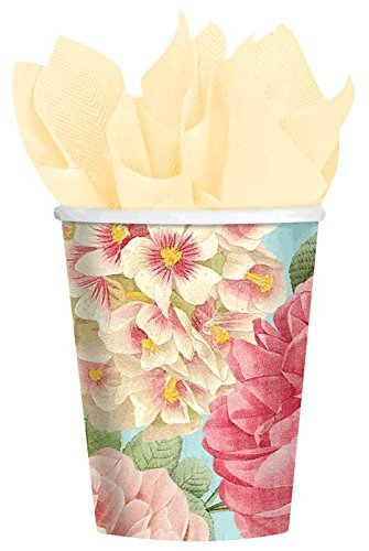 amscan Disposable Paper Cup for Hot and Cold Beverages in Blissful Blooms Print (18 Piece), 9 oz, Multi