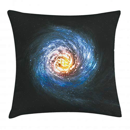 "Ambesonne Galaxy Throw Pillow Cushion Cover, Colorful Nebula Spiral Design in Space Stardust Orbit Infinity Universe Print, Decorative Square Accent Pillow Case, 16"" X 16"", Yellow Black"