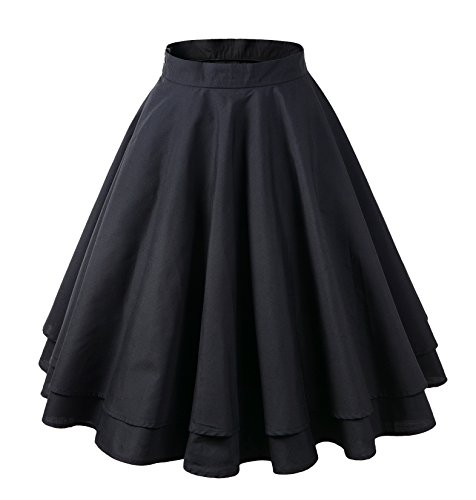 Penelope Vintage 1950s Vintage Rockabilly Swing Pleated Skirt (US10, Two-Tiered)