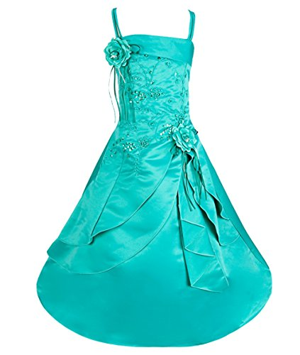 iiniim Girls Embroidered Flower Girl Dress Princess Wedding Party Pageant Dresses Green 10-12 (Teen Christmas Dress)