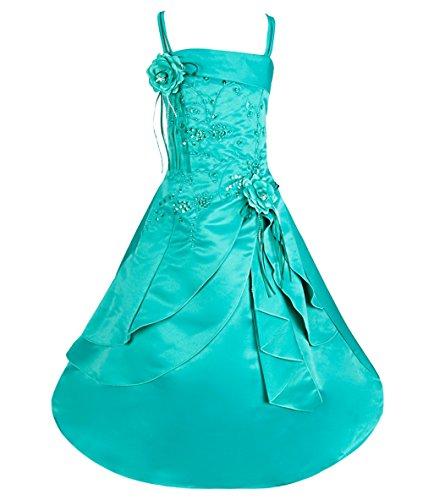 iiniim Girls Embroidered Flower Girl Dress Princess Wedding Party Pageant Dresses Green 10-12 (Teen Christmas Dress)