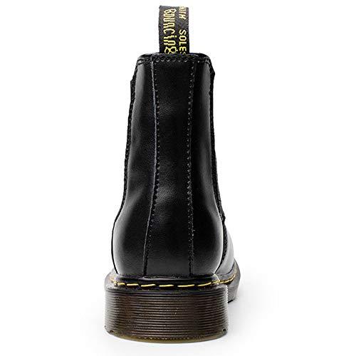 Pelle Stivali Classico Stivaletti Pelle Sicurezza Stivali Boots Uomo Martin di Black Chelsea in Casual Brogue Formale Nera xvtHnq