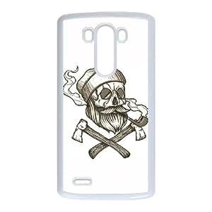 LG G3 Cell Phone Case White Lumberjack Skull UN7125842