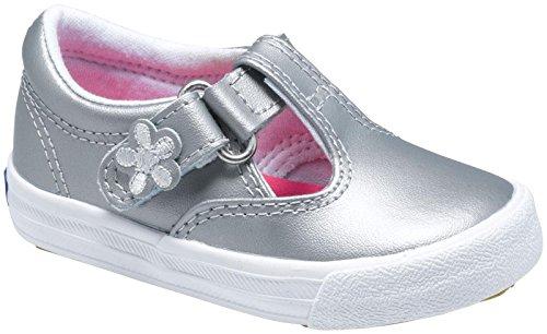 Keds Daphne T-Strap Sneaker ,Silver,12 W US Little Kid