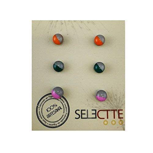 Pack pendientes pequeños antialergicos, naranja gris, verde gris y ...