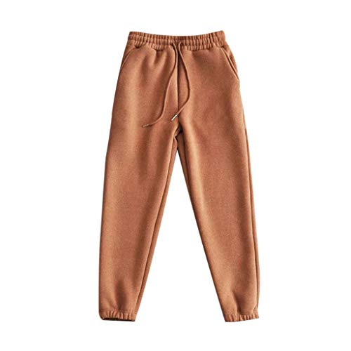 (Memela Pants,Women's Thick Wool Blend Cropped Total Freedom Pant Cashmere Haren Motion Sweater Long Pants (Coffee, XL))