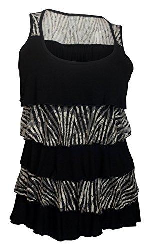 eVogues Plus Size Tiered Ruffle Tank Top Zebra Print Black - 1X