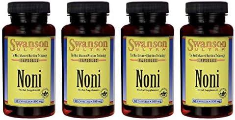 Swanson Noni 500 Milligrams 120 Capsules 2 Bottles 4 Pack