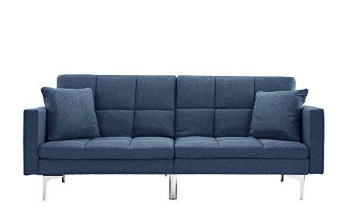 - Modern Plush Tufted Linen Split Back Living Room Futon, Sofa for Small Space (Blue)